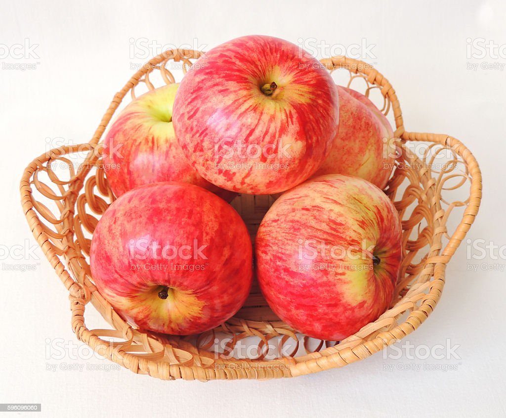 Fresh ripe red apples in the basket. royalty-free stock photo