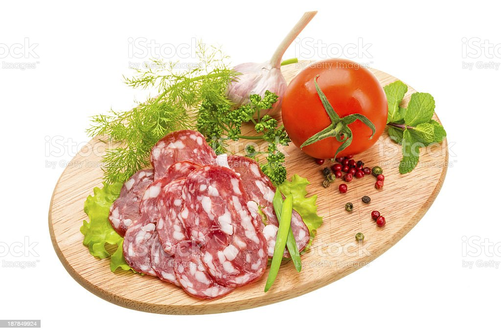 Fresh ripe salami royalty-free stock photo