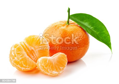 fresh ripe tangerines with green leaf isolated on white background