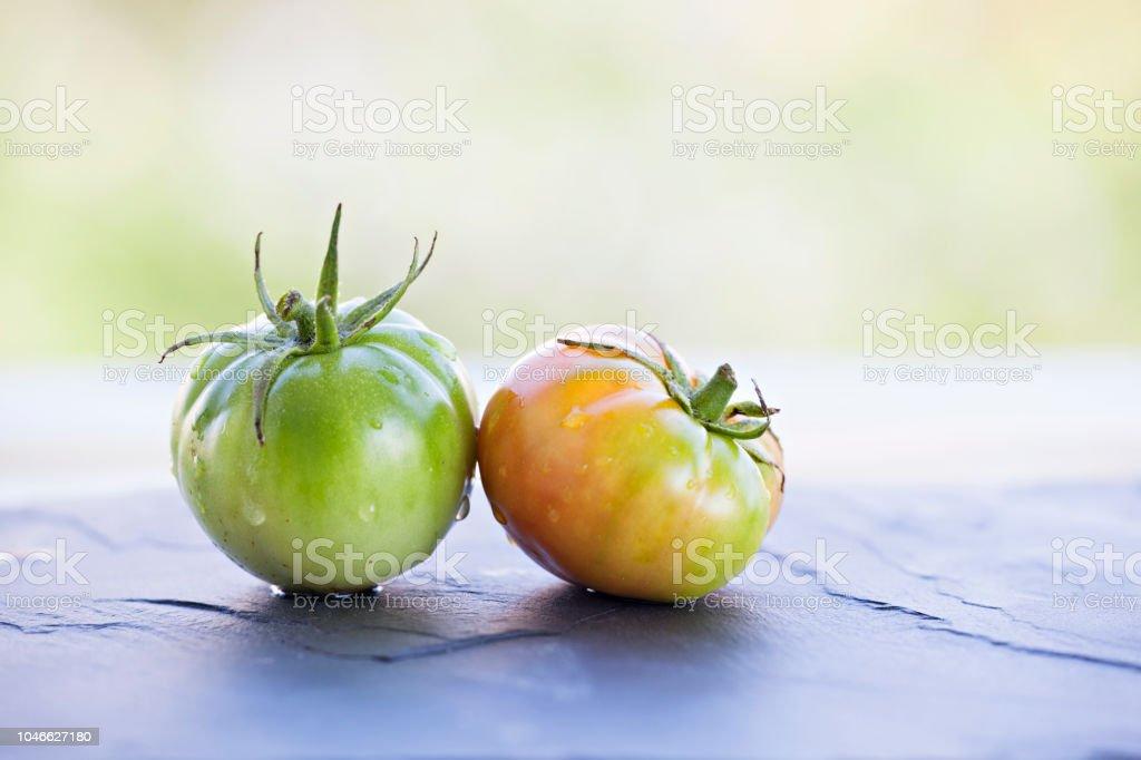 Taze olgun köyü domatese siyah arduvaz kaplamak. stok fotoğrafı