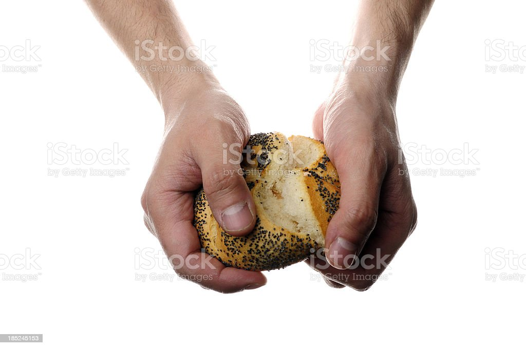 Fresh roll with poppy seeds stock photo