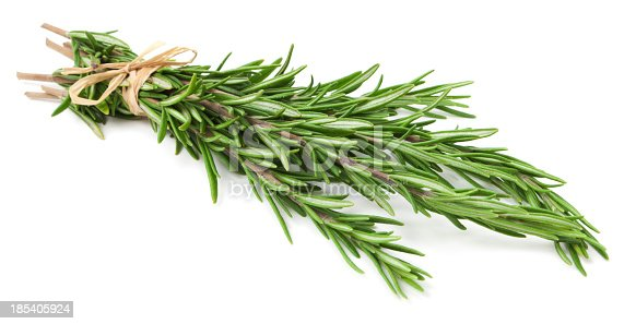 Sprigs of rosemary herb tied at the base with a tan twine string.  There are six sprigs.  The herbs have light shading against the stark white background.  The sprig ends are at the top left of the photo, the tops of the herb at the bottom right.