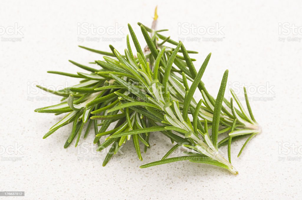 Fresh Rosemary on textured kitchen counter top royalty-free stock photo