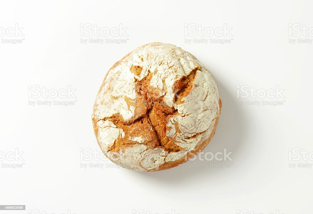 Fresh round loaf of bread stock photo