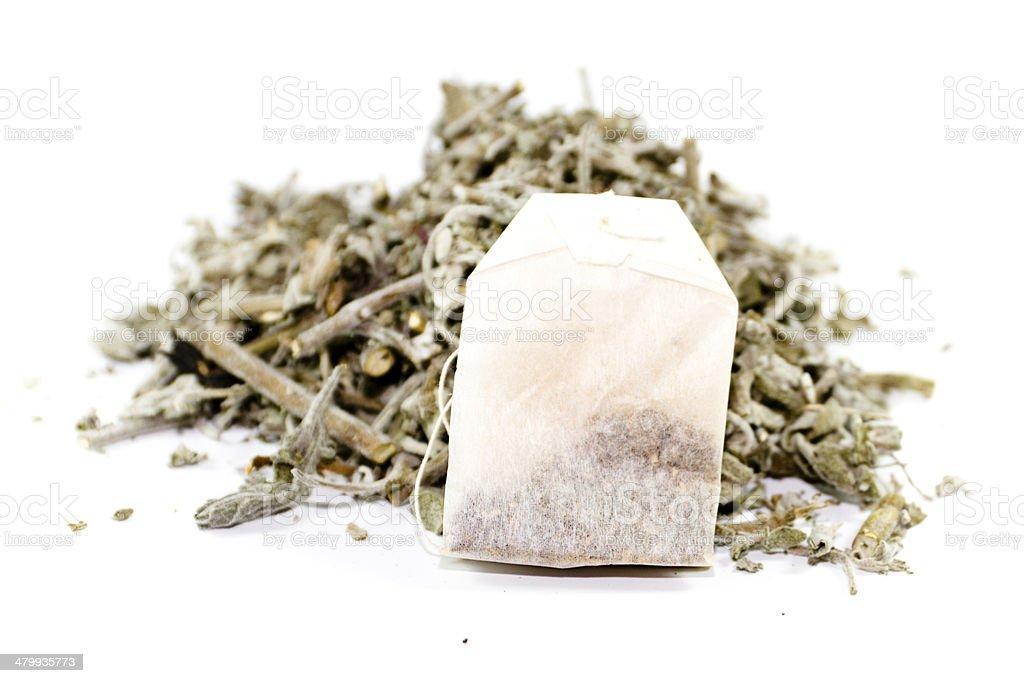 Fresh Sage with Tea Bag on white background stock photo