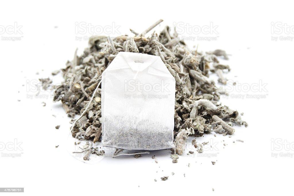 Fresh Sage with Tea Bag stock photo