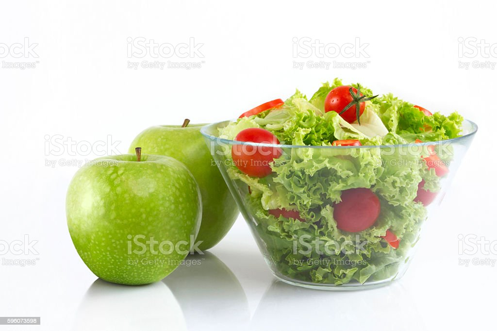 Fresh Salad and Green Apples royalty-free stock photo