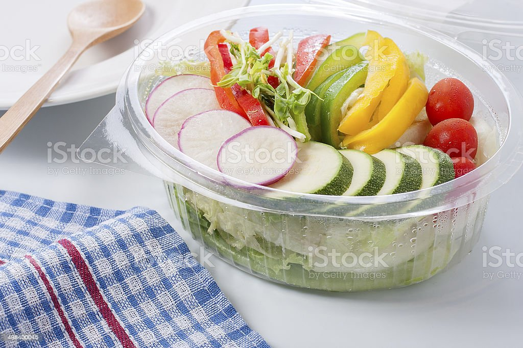 Fresh salad from the supermarket. stock photo