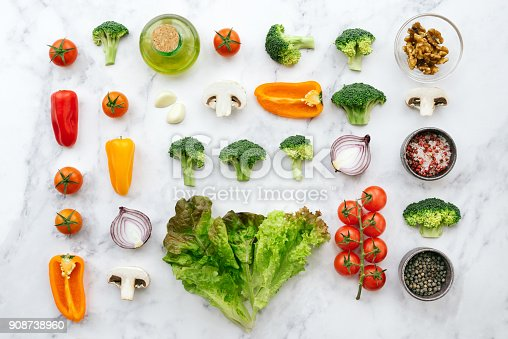 Organic vegetables on a marble background