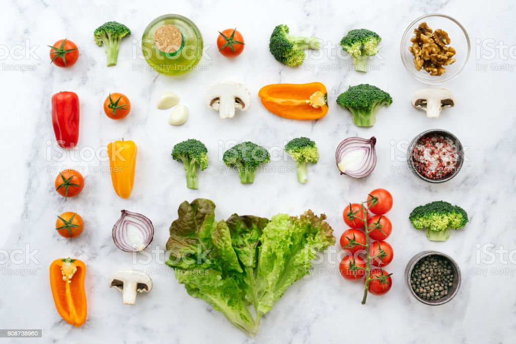 Fresh salad ingredients - knolling concept stock photo