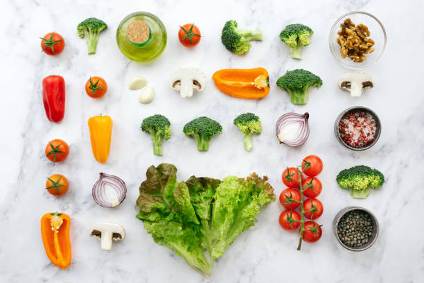 Fresh salad ingredients - knolling concept - foto stock