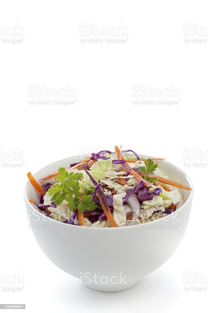 Fresh salad made of cabbage in a white bowl stock photo
