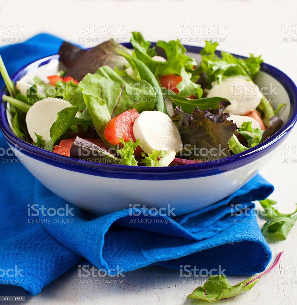 Fresh salad with bocconcini stock photo