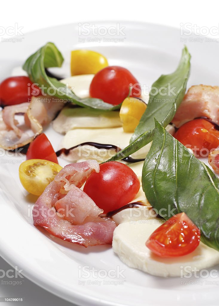 Fresh Salad with Cherry Tomato and Buffalo Cheese royalty-free stock photo