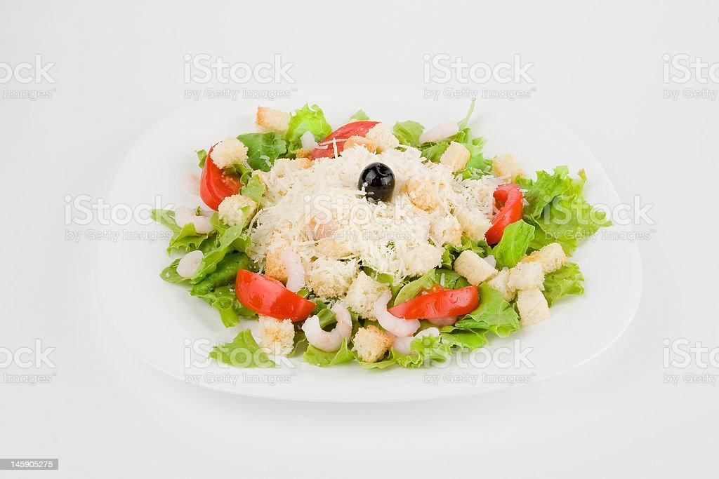 Fresh salad with shrimp royalty-free stock photo