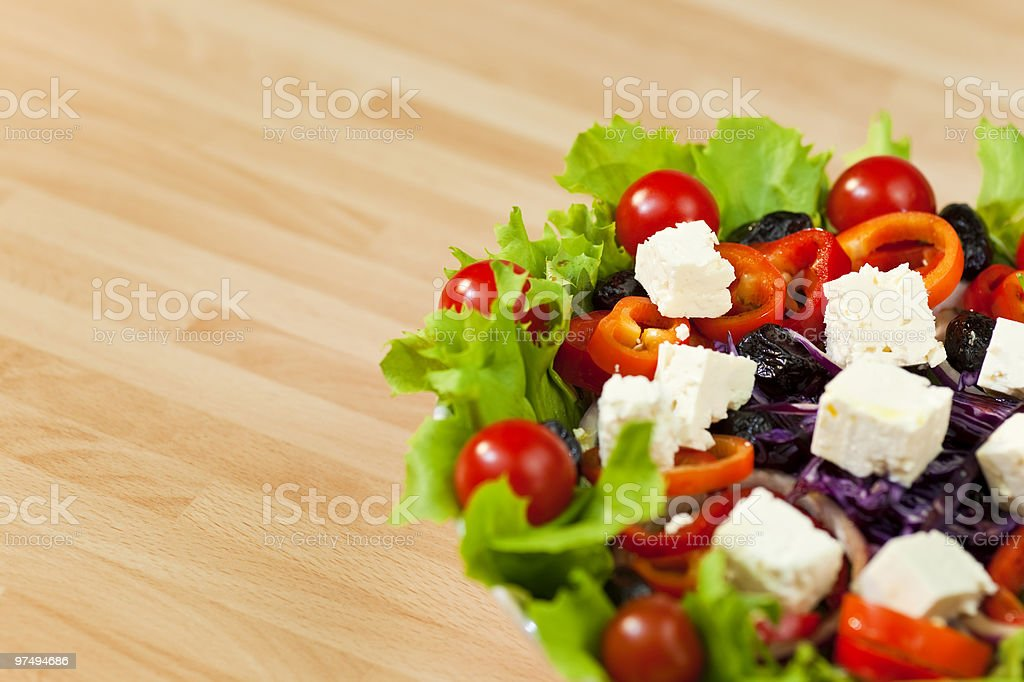 Fresh Salad With Tomatoes Peppers Olives and Feta Cheese royalty-free stock photo