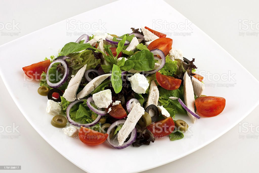 fresh salad with vegetables and chicken royalty-free stock photo