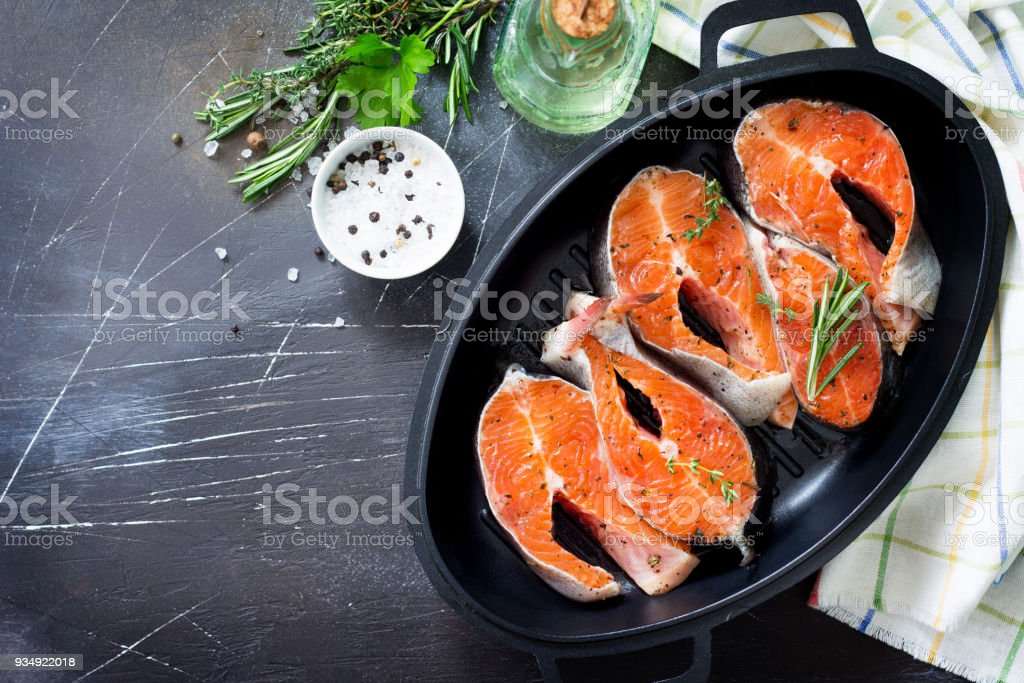 Fresh Salmon And Ingredients For Cooking Proper Nutrition