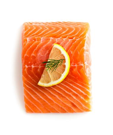 Fresh Salmon Fillet, isolated on white.