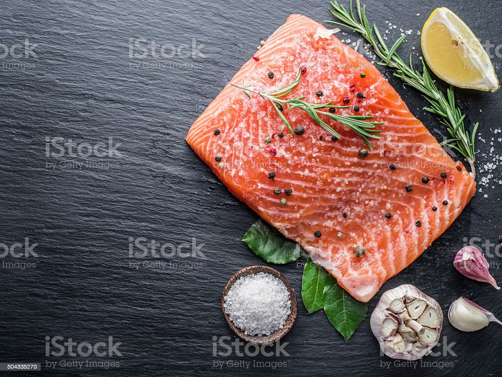 Fresh salmon on the cutting board. royalty-free stock photo