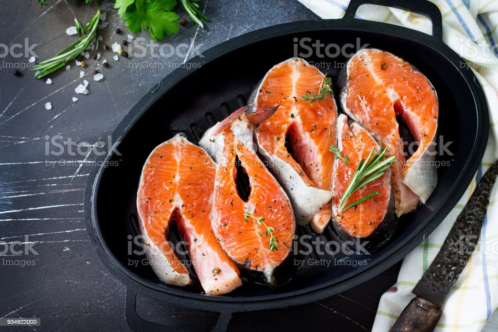 Fresh Salmon Pickled For A Barbecue On A Castiron Frying Pan Proper  Nutrition Copy Space Stock Photo - Download Image Now