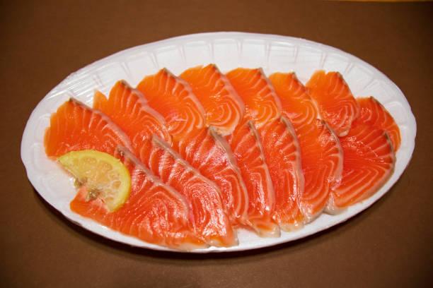 Fresh salmon sashimi. stock photo
