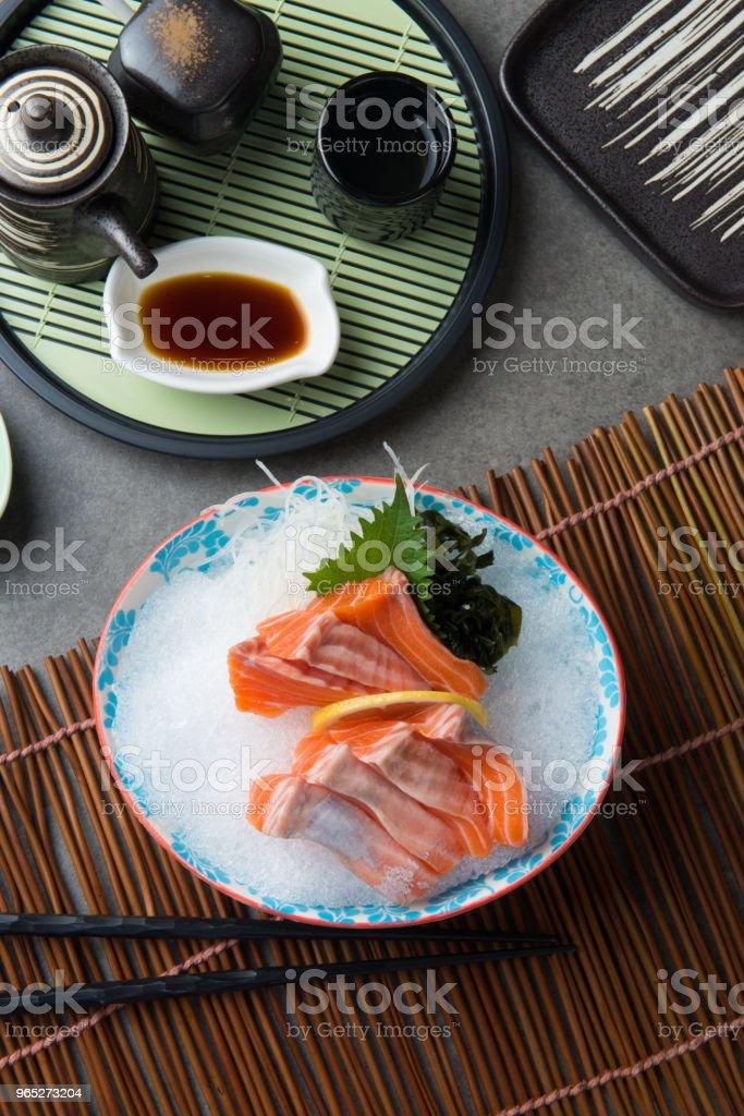 fresh salmon shashimi sushi on fresh ice royalty-free stock photo
