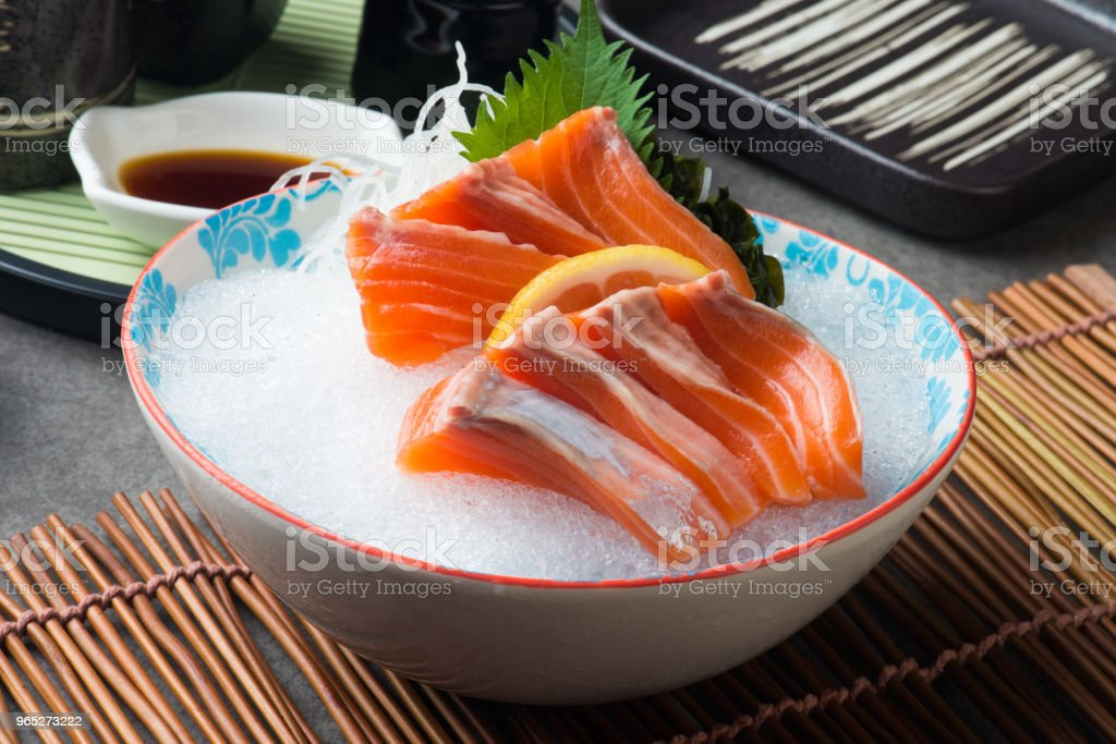 fresh salmon shashimi sushi on fresh ice royalty-free stock photo