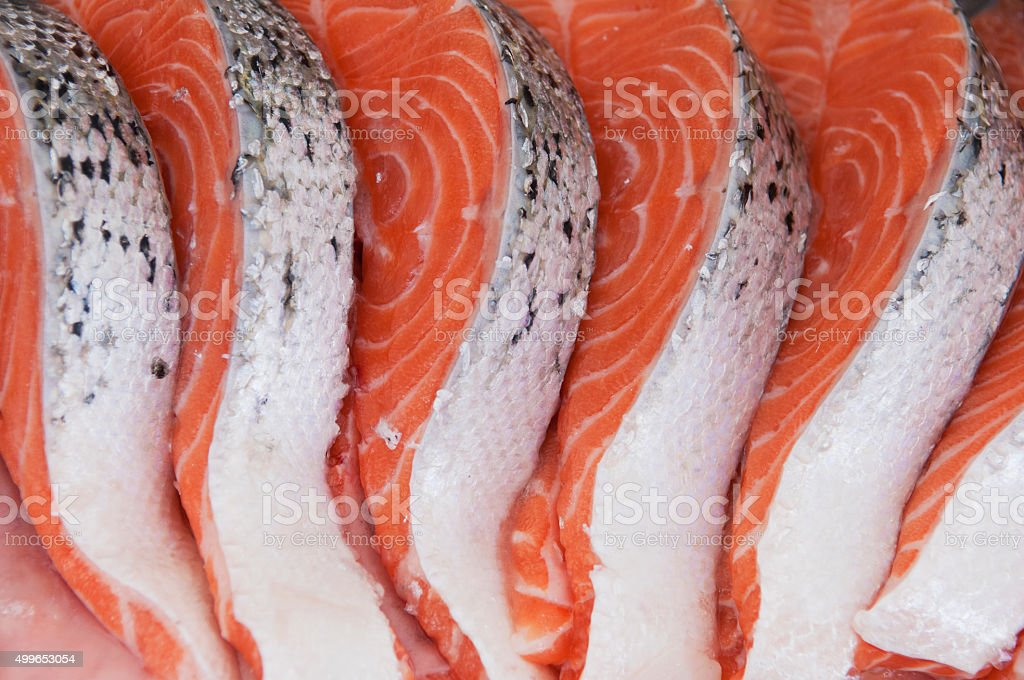 Fresh salmon slices stock photo