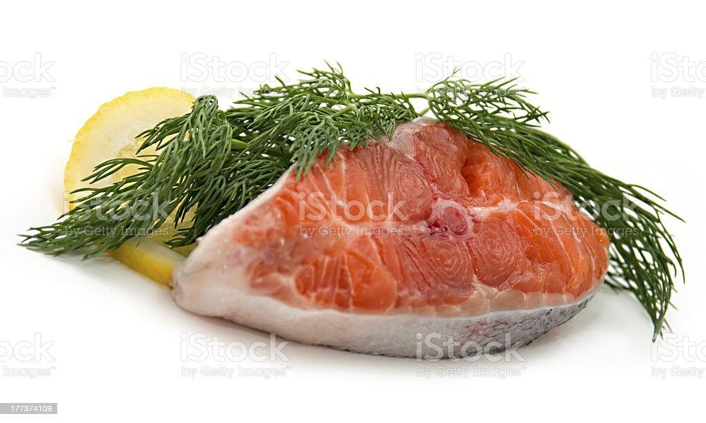 Fresh salmon steak stock photo