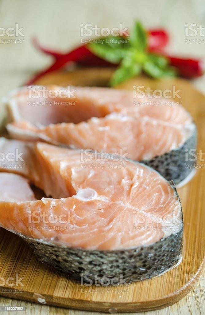 Fresh salmon steaks royalty-free stock photo