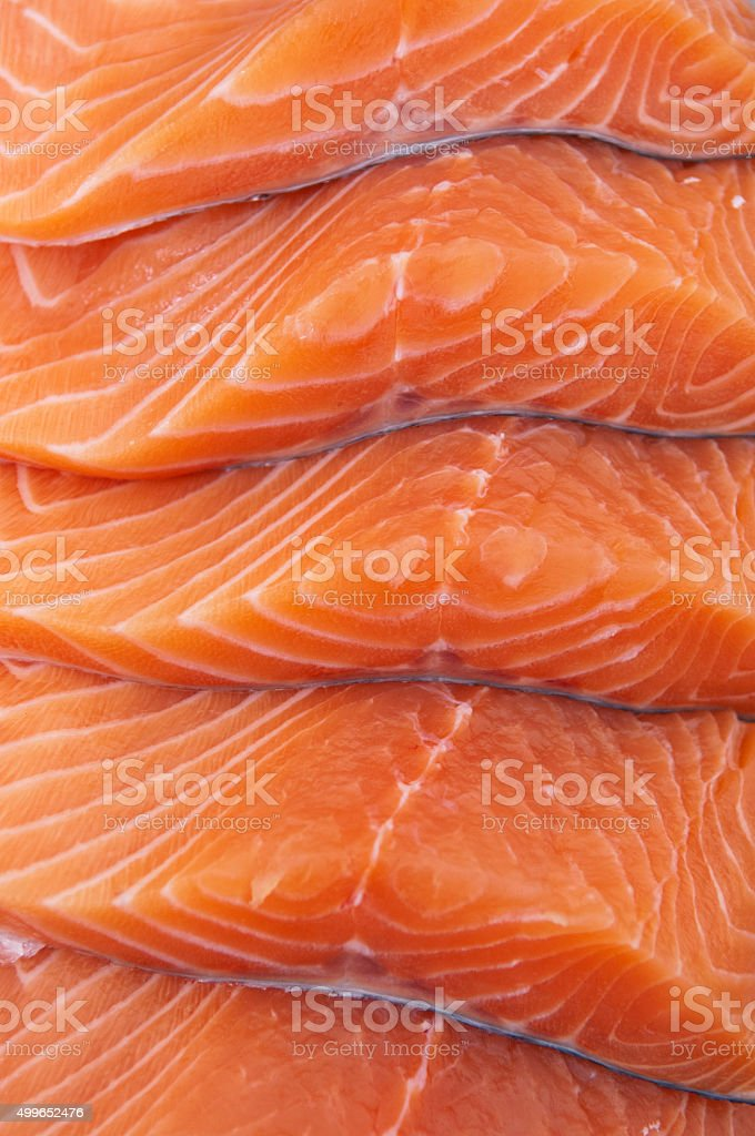 Fresh salmon steaks stock photo