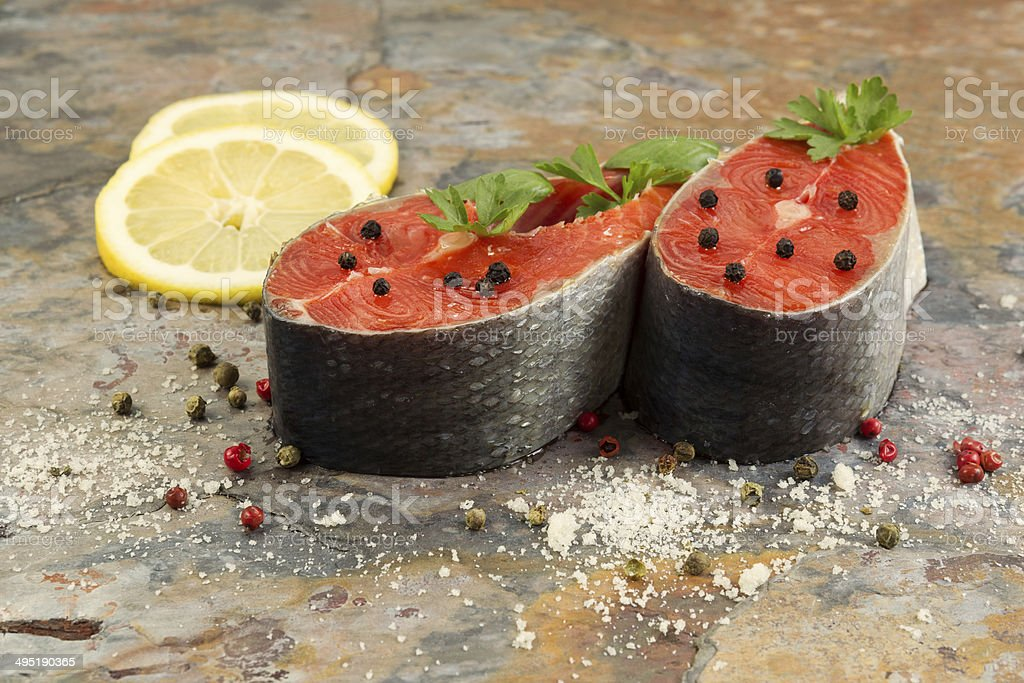 Fresh Salmon Steaks prepared for Cooking stock photo