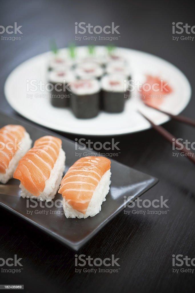 Fresh salmon sushi royalty-free stock photo