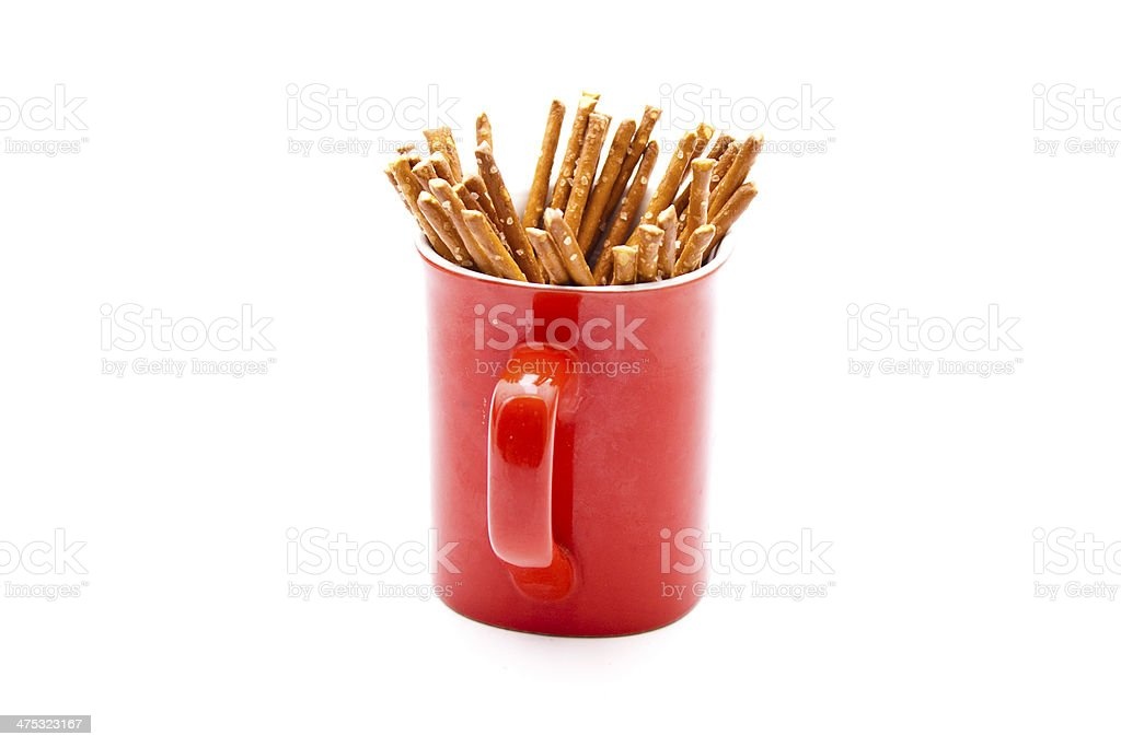 Fresh Salted Saltsticks in Red Coffee Cup stock photo