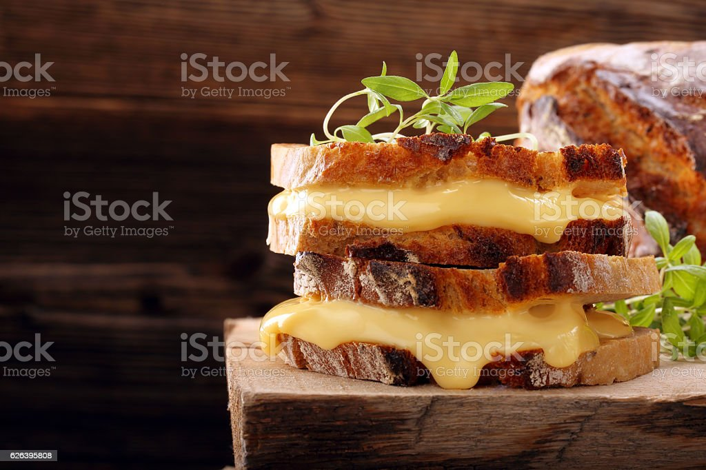 Fresh sandwich with cheese and herbs stock photo
