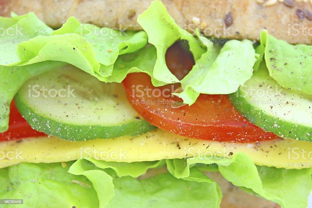 Fresh sandwich with cheese and vegetables royalty-free stock photo