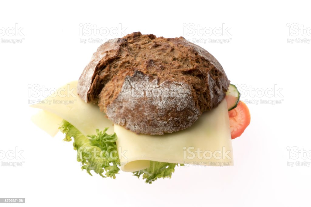 Fresh sandwich with cheese tomato and salad isolated on white background stock photo