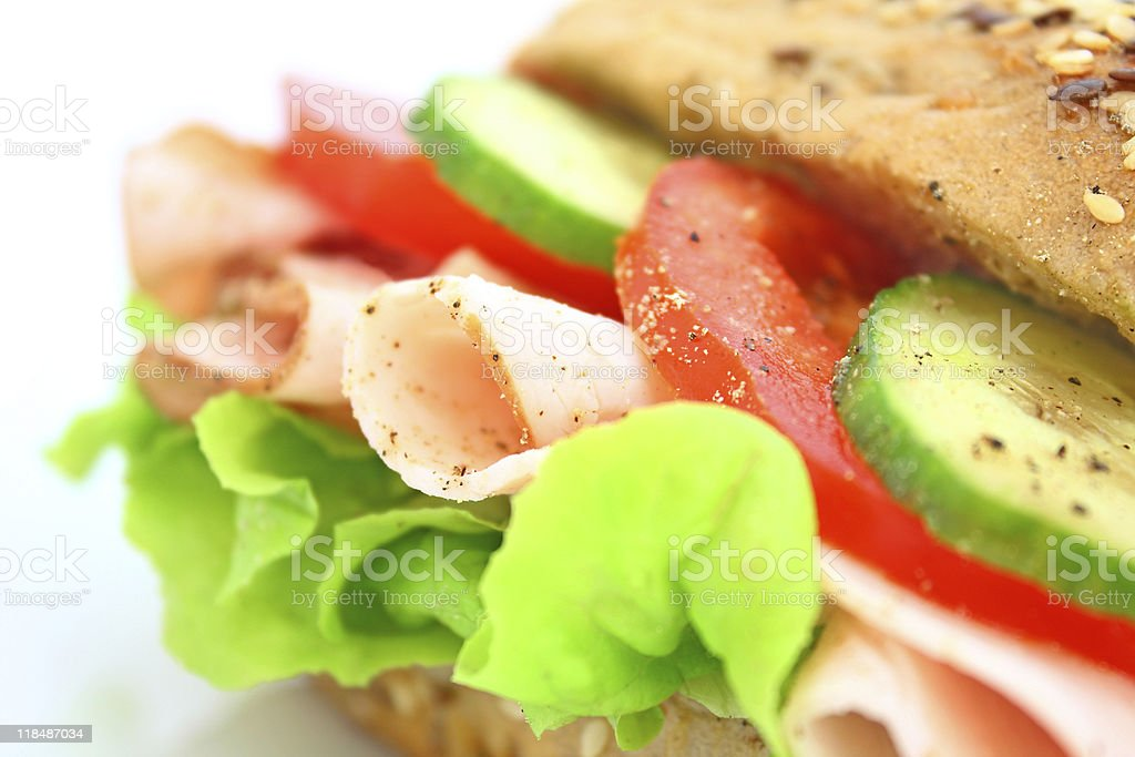 Fresh sandwich with ham and cheese royalty-free stock photo