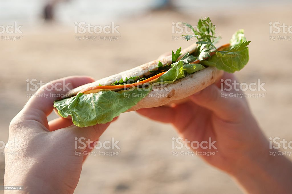 Fresh sandwich with ham in man's hands royalty-free stock photo