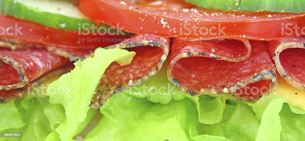 Fresh sandwich with salami cheese and vegetables royalty-free stock photo