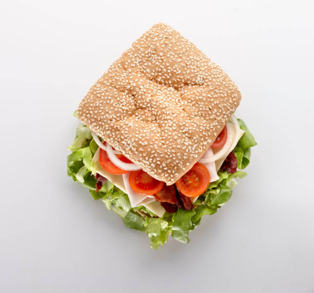 fresh sandwich with salat and other vegetables stock photo