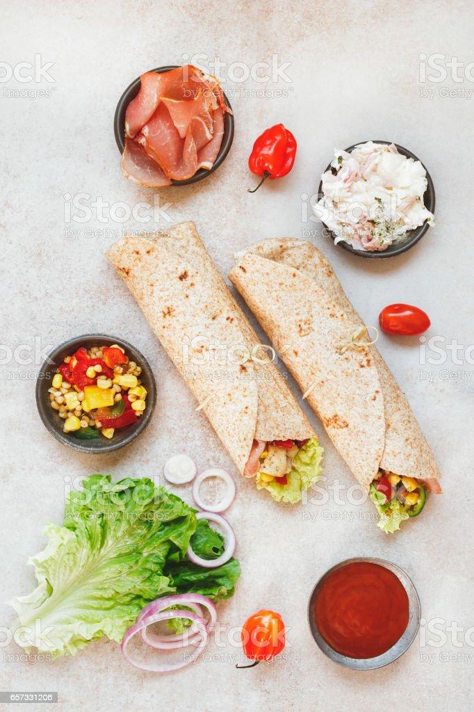 Fresh sandwich wrap with organic  ingredients stock photo