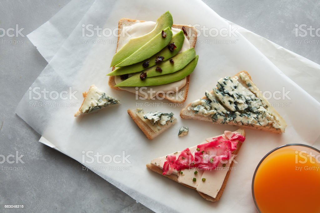 Fresh sandwiches with cheese stock photo
