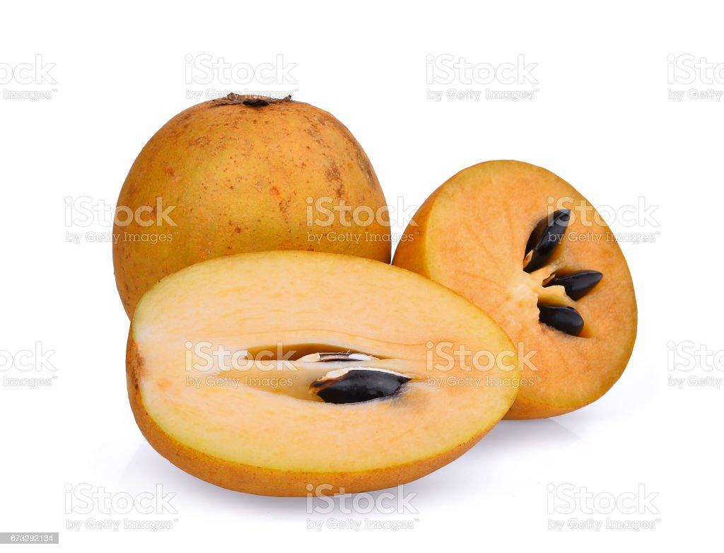 fresh sapodilla fruit isolated on white background royalty-free stock photo