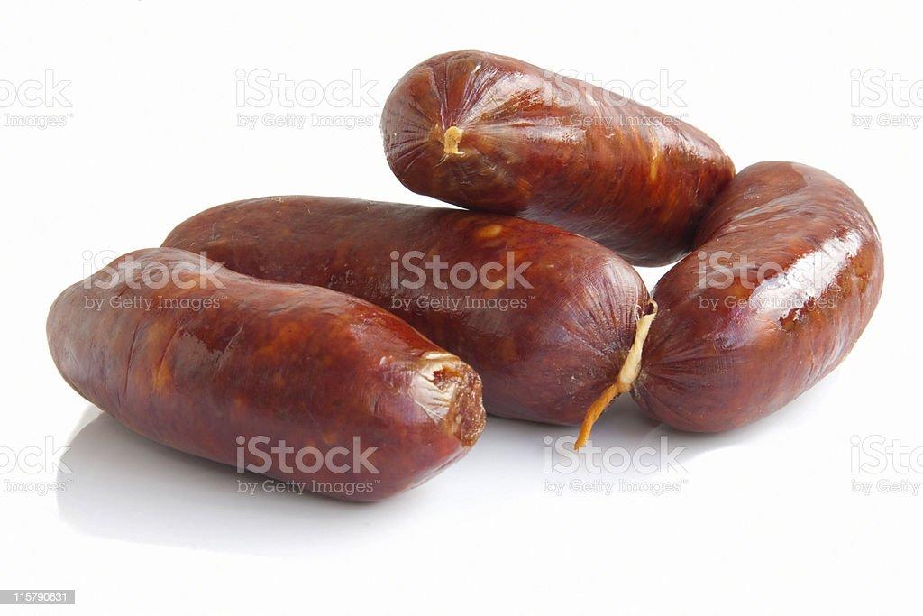 Fresh sausage isolated on white stock photo