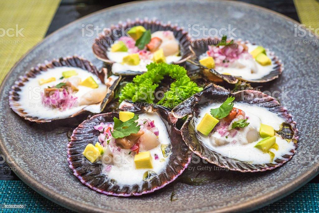 fresh scallops new peruvian cuisine style stock photo