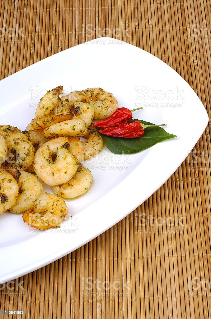 fresh scampis roasted royalty-free stock photo