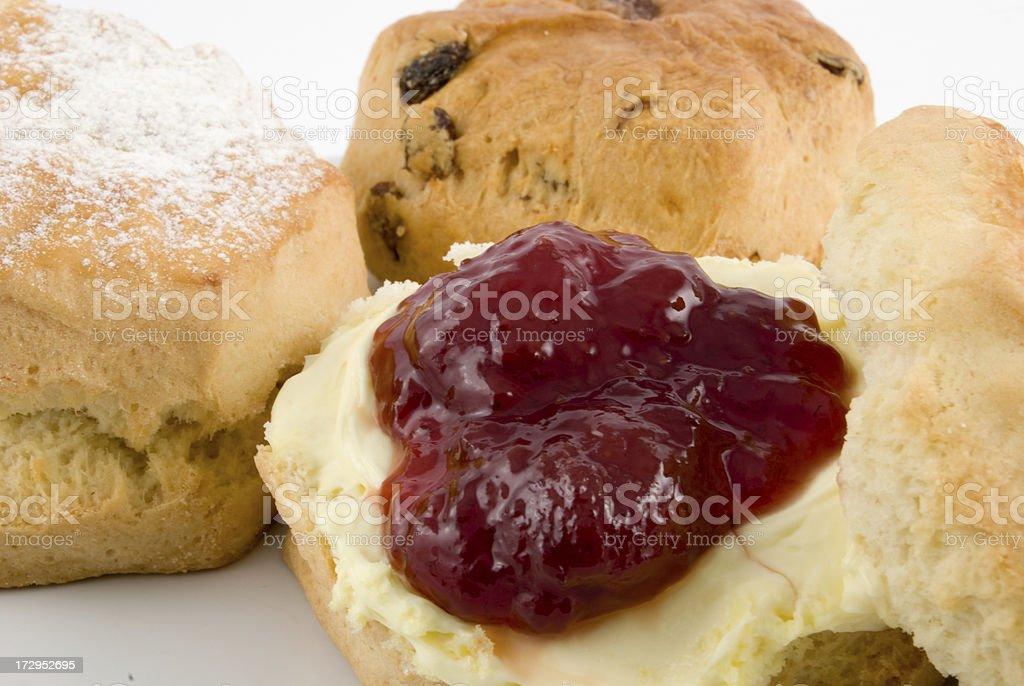 fresh scones with jam and cream royalty-free stock photo