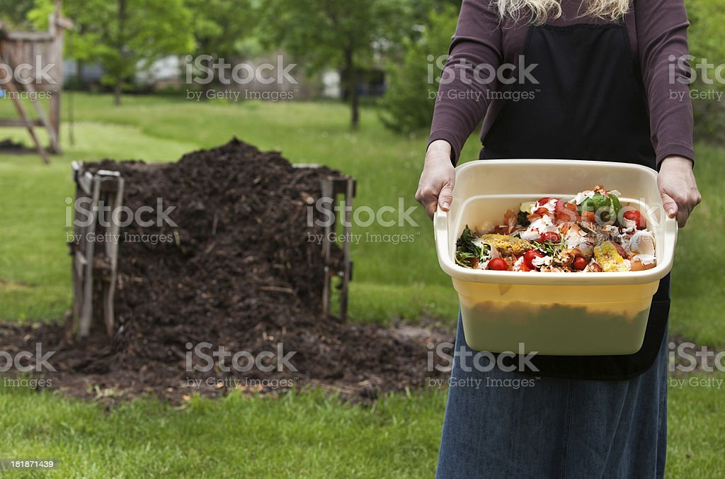 fresh scraps for compost pile stock photo